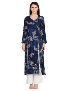 Look like a dream as you wear this floral printed Indigo kurta from the house of Castle. The Full sleeves kurta is made from Rayon, which ensures complete comfort and breathability to the wearer. Pair it with matching leggings and sandals to get complimented for your classy fashion signature.