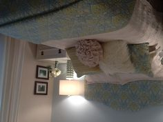 DIY head board. Peaceful colors! This is also My room!!! My mom made this head board! Can't wait to go home and see it!