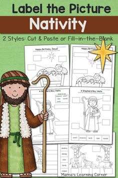 Nativity Label the Picture Preschool Christmas, Christmas Activities, Christmas Crafts, Toddler Christmas, Christmas Nativity, 1st Christmas, Xmas, Nativity Coloring Pages, Teaching Religion