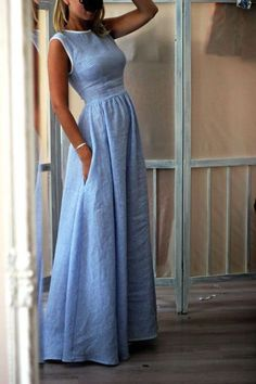 up to off, Hot sale Elegant High-Waisted Pocket Holiday Maxi Dress - Outfit ideen - Summer Dress Outfits Dresses For Sale, Dresses Online, Dresses Dresses, Denim Dresses, Chiffon Dresses, Dresses For Ladies, Maxi Dress Styles, Fall Dresses, Beach Dresses