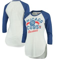 Chicago Cubs G-III 4Her by Carl Banks Women's Tailgate 3/4-Sleeve T-Shirt - White/Royal - $34.99