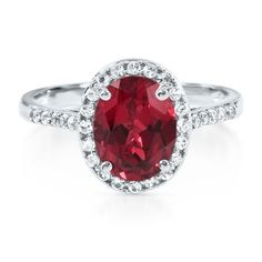 Oval Lab-Created Ruby Ring available at #HelzbergDiamonds #crazypinlove