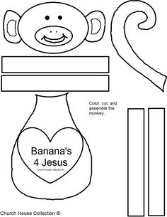 Church House Collection Blog: Banana's 4 Jesus Monkey Cutout Craft for Kids For Valentine's Day- Sunday School or Children's Church