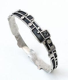 Modernist Sterling Silver Bangle Bracelet