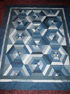 Blue Gems Denim Quilt by FourCraftSisters on Etsy
