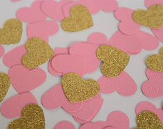 Pink and Gold Confetti Hearts, Pink and Gold Bridal Shower Decorations, Baby Shower Decorations, Pink and Gold first birthday decorations