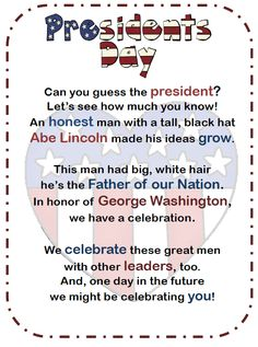 """FREE LANGUAGE ARTS LESSON - """"Presidents' Day Poetry Station"""" - Go to The Best of Teacher Entrepreneurs for this and hundreds of free lessons. http://thebestofteacherentrepreneurs.blogspot.com/2013/01/free-language-arts-lesson-presidents.html"""