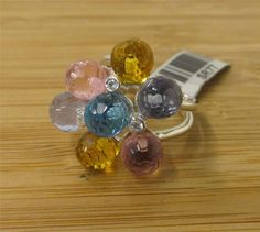 SIZE 7 925 Sterling MultiColor ChaCha Faceted Quartz Balls Ring Jewelry Ladies' #ChaChaCluster