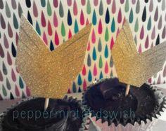 sparkly gold glitter arrow cupcake toppers set of 12 Disney Princess Merida woodland aztec Cupids Arrow