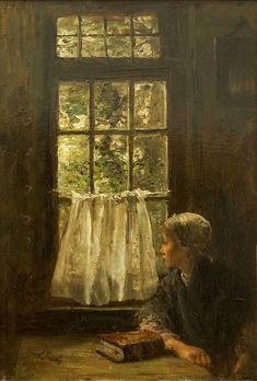 Jozef Israëls: Sunday Morning, 1880 #  Jozef Israëls (27 January 1824, Groningen – 12 August 1911, Scheveningen) was a Dutch painter.