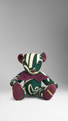 Forest green Book Cover Print Teddy Bear - Image 1