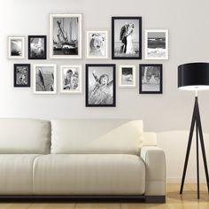 12er Set Bilderrahmen für grosse Bilderwand Modern Shabby-Chic 10x15 bis 20x30 cm inklusive Zubehör Rahmen-Stil Modern, Holz