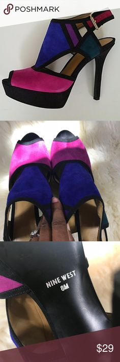 1b9458d1600 ... Block Platform Heels Sandals SZ 8 Nine West Color Block Platform Heels  Sandals SZ 8 Fuchsia Cobalt Blue Green Purple Cute! Nine West Shoes  Platforms