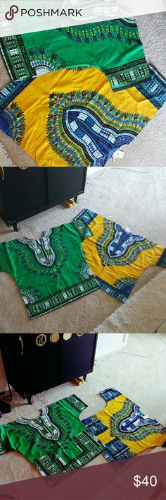 Unisex African Dashiki Shirts, Med & Large Unisex 2 African Dashiki Shirt, Med & Large, green, black, & white and the other is yellow, blue, & white Tops Blouses