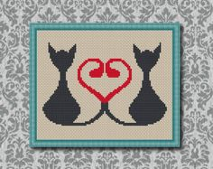 Cats in Love, Counted Cross stitch , Pattern PDF,Cross Stitch Chart , Cute Cross Stitch , Cross stitch pattern , Instant download. 0001