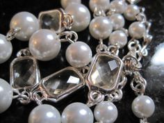 Anne Klein~Silver Tone~Imitation Pearl and Square Crystal Beads~Strand Necklace #AnneKlein #StrandString