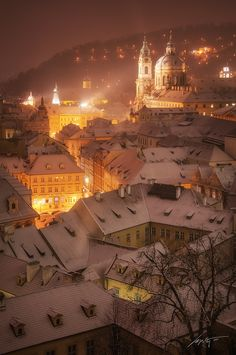 White Night - Marek Kijevský - Lesser Town of Prague and Tower of St Nicholas Church, Prague, Czech republic.