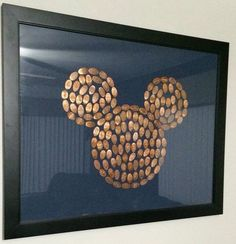 Cool way to present your Disney World pressed pennies.( could do with zoo animal)