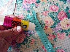 Use a glue stick instead of pins to neatly install a zipper. Zipper Tutorial by Michelle on Sew, Mama, Sew!
