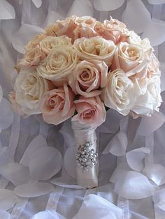 Softly hued, classically elegant rose bouquet. wedding flower bouquet, bridal bouquet, wedding flowers, add pic source on comment and we will update it. www.myfloweraffair.com can create this beautiful wedding flower look.