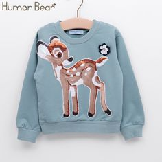 Humor Bear New Spring&Autumn Baby And Girls Long Sleeve Cartoon Sequins T-Shirt Casual Fashion Clothes 2-6Y //Price: $33.32 //     #kids