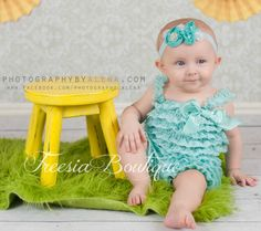 Aqua Lace ruffle Romper and Headband Set by FreesiaOnline on Etsy, $18.95