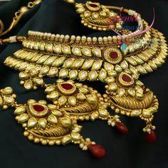 kundan anitque gold necklace tikka earring set