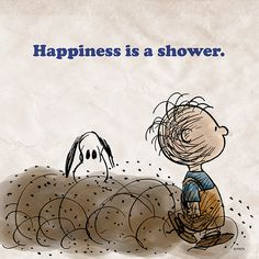'Happiness is a shower', Pig Pen and Snoopy. Peanuts Gang, Peanuts Cartoon, Charlie Brown And Snoopy, Snoopy Love, Snoopy And Woodstock, Peanuts Characters, Cartoon Characters, El Canton, Pig Pen