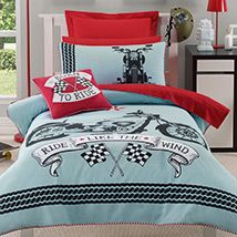 Motorbike - available in Single and double, released Oct 12 Red Cushion Covers, Red Cushions, Linen Bedroom, Quilt Cover Sets, Kid Spaces, New Room, Girls Bedroom, Boy Or Girl, Comforters