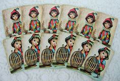 Delightful Vintage Maio Big Eyed Art Playing Cards by YzTreasures
