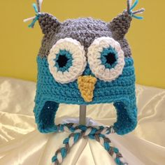 Owl earflap hat with braids, made to order any size and color!