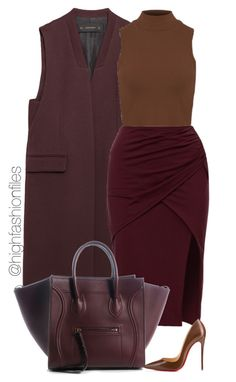 """""""Raspberry Chocolate"""" by highfashionfiles ❤ liked on Polyvore featuring Zara and Christian Louboutin"""