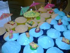 Beach theme birthday party.  These cupcakes have Teddy Grahams in gummy Lifesavers for tubes and on fruit strips for towels and floats.  The sand is ground graham crackers and just add food coloring to cream cheese frosting for the ocean.  You could also use gum balls for beachballs too!  One tip though, place your teddy bears in just before the party, not the night before because they get soggy.