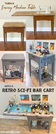 Turn a sewing table into a bar cart with chalk paint and a retro sci-fi robot poster. #decoartprojects | Chica and Jo