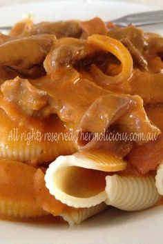 Bacon & Beef Stroganoff! Thermolicious.com.au- website coming soon...  #recipes #thermomix #beef #pasta #food #family #thermo Beef Bacon, Clean Plates, Beef Stroganoff, Beef Pasta, Pasta Food, Yummy Treats, Waffles, Tasty, Cooking
