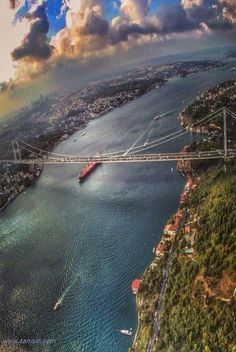 The Bosphorus, Istanbul, Turkey. One of the most wonderful cities I ever been. The only city in the world located on two different continents ( Europe and Asia ). Places Around The World, Oh The Places You'll Go, Places To Travel, Places To Visit, Around The Worlds, Wonderful Places, Great Places, Beautiful Places, Bosphorus Bridge