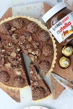 A Sweet Shortcrust Pastry Base, with a Layer of Nutella, and a Chocolate Nutella Mousse Filling with Ferrero Rocher – a Delicious Nutella Tart! Bbc Good Food Recipes, Other Recipes, My Recipes, Sweet Recipes, Yummy Food, Favorite Recipes, Pudding Desserts, Fun Desserts, Dessert Recipes