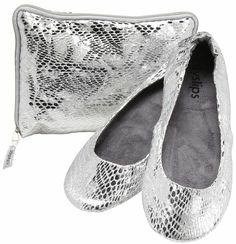 CitySlips Snakeskin Foldable Ballet Flats, Silver