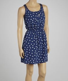 Rachael and Chloe Navy & White Polka Dot Cutout Sleeveless Dress.