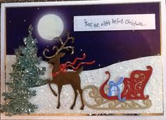 The reindeer and sleigh were made with Cottage Cutz dies. Made by Christine Duncan Christmas Cards To Make, Before Christmas, Holiday Cards, Christmas Ornaments, Holiday Decor, Reindeer And Sleigh, Card Tutorials, Winter Holidays, Elf
