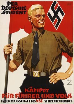 "This poster from 1936 emphasizes the role of students for the ""Führer and People."" Nazi propagandists were especially concerned to reach and persuade German youth, the future leaders of the nation, to support the goals and policies of the Nazi Party."
