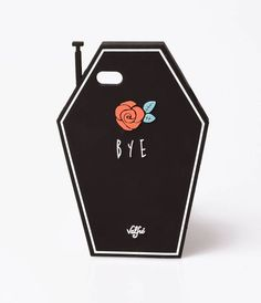 This silicone rubber case is an ominous sign cast in a black coffin design with white piping and boasting a red rose with the Cool Phone Cases, Iphone Case Covers, Mobile Accessories, Phone Accessories, Silicone Iphone Cases, Iphone 6, Apple Iphone, Coffin, Red Roses