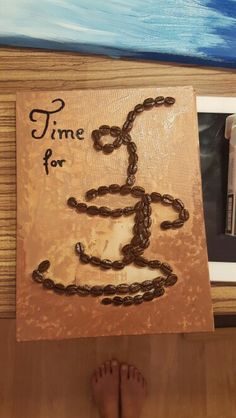 Time for coffee Acrylic on canvas and coffee beans