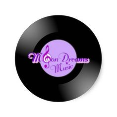 MoonDreams Music Record Small Round Stickers by #MoonDreamsMusic #VinylRecord #BlackandPurple #PartyFavors #MusicTheme