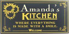 Image detail for -Sunflower Kitchen Sign | Custom Kitchen Decor | Vintage Kitchen Signs