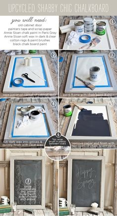 A chalk board from an old cabinet door---tutorial by mariearq