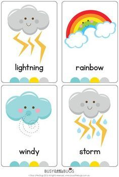 Flash Cards There are 12 brightly coloured, high quality printable flash cards in this pack. Great for any unit on weather.There are 12 brightly coloured, high quality printable flash cards in this pack. Great for any unit on weather. Teaching Weather, Preschool Weather, Weather Crafts, Weather Activities, Preschool Learning Activities, Preschool Classroom, Preschool Worksheets, In Kindergarten, Preschool Activities