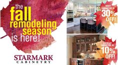 Special Promo's from StarMark Cabinetry. Don't miss out - Sale Ends 10/27/17  Check out www.ClickCabinets.com to order your new kitchen cabinets today.  Free Design Free Shipping Free Samples Kitchen Cabinets For Sale, Bath Cabinets, Kitchen And Bath, New Kitchen, Kitchen Appliances, Quality Kitchens, Cool Kitchens, Free Samples