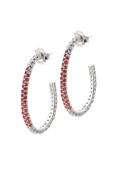 Billie Earrings from The Manhattan Collection: hand made 925 sterling silver plated with silver rhodium, hand-set with red sapphires and white topaz.