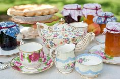 Summer farm wedding with gorgeous vintage china from our rental collection. Princess Tea Party, 50th Party, Mothers Day Presents, Vintage China, Farm Wedding, Afternoon Tea, Hot Chocolate, Party Planning, Tea Time